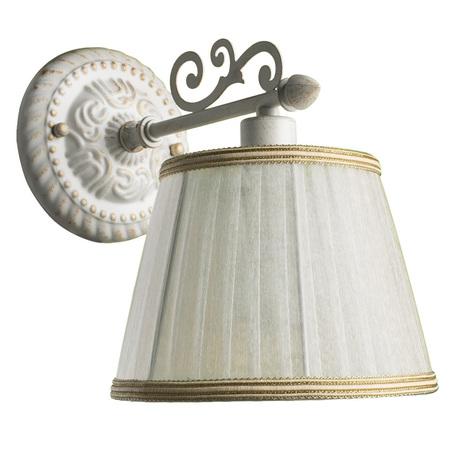 Бра Arte Lamp Jess A9513AP-1WG, 1xE14x40W, белый с золотой патиной, белый, бежевый, металл, текстиль