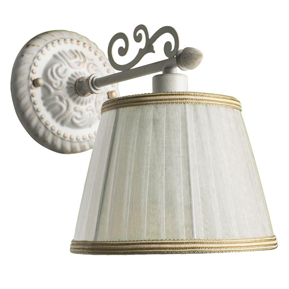 Бра Arte Lamp Jess A9513AP-1WG, 1xE14x40W, белый с золотой патиной, белый, бежевый, металл, текстиль - фото 1