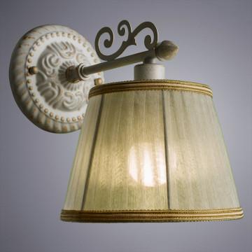 Бра Arte Lamp Jess A9513AP-1WG, 1xE14x40W, белый с золотой патиной, белый, бежевый, металл, текстиль - миниатюра 2