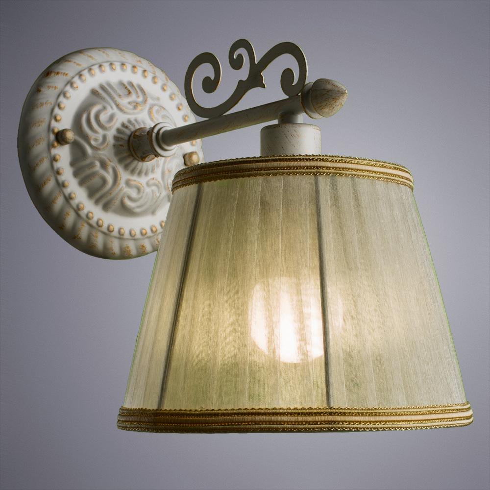 Бра Arte Lamp Jess A9513AP-1WG, 1xE14x40W, белый с золотой патиной, белый, бежевый, металл, текстиль - фото 2