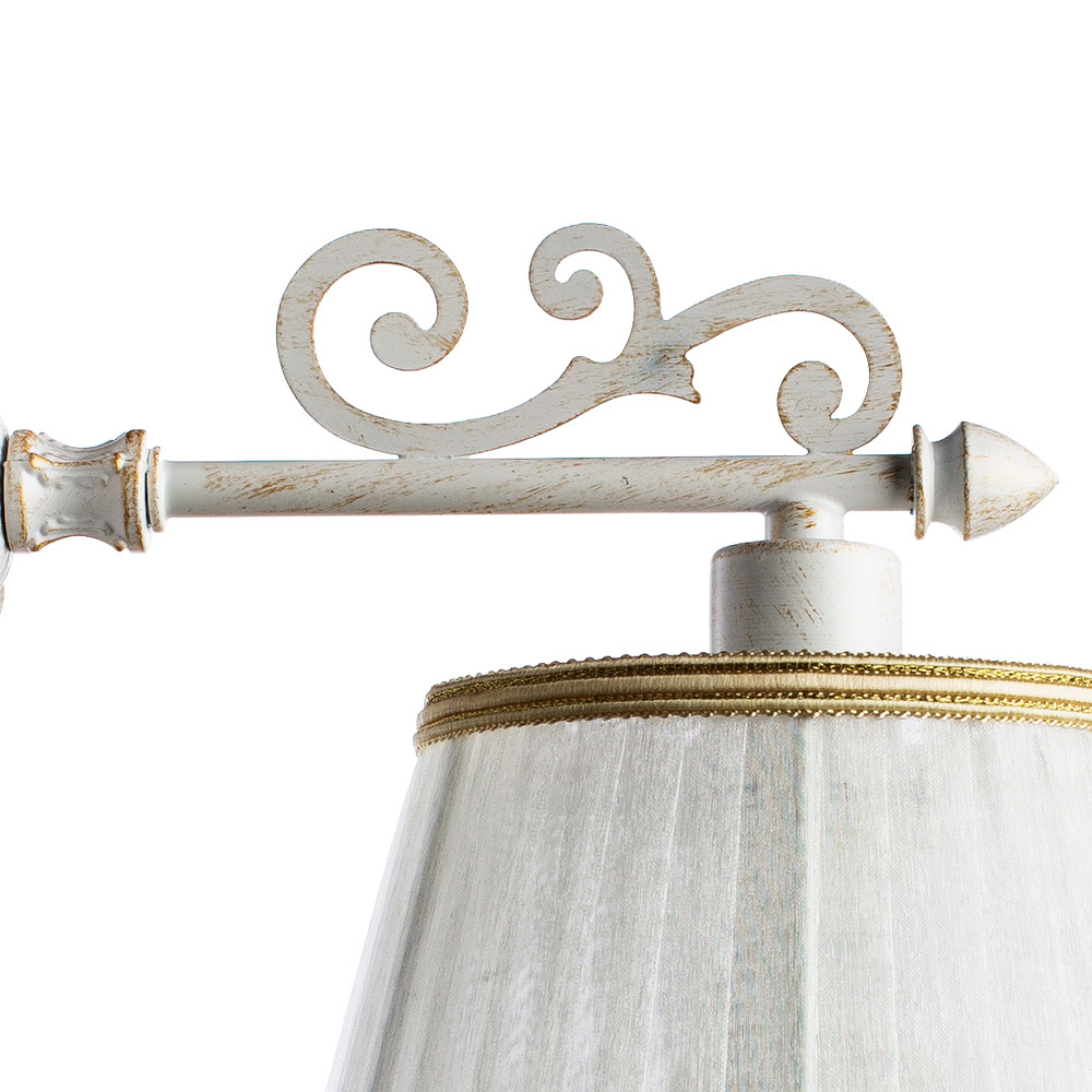 Бра Arte Lamp Jess A9513AP-1WG, 1xE14x40W, белый с золотой патиной, белый, бежевый, металл, текстиль - фото 3
