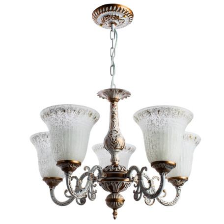 Подвесная люстра Arte Lamp Delizia A1032LM-5WG, 5xE27x60W, белый с золотом, белый, металл, стекло