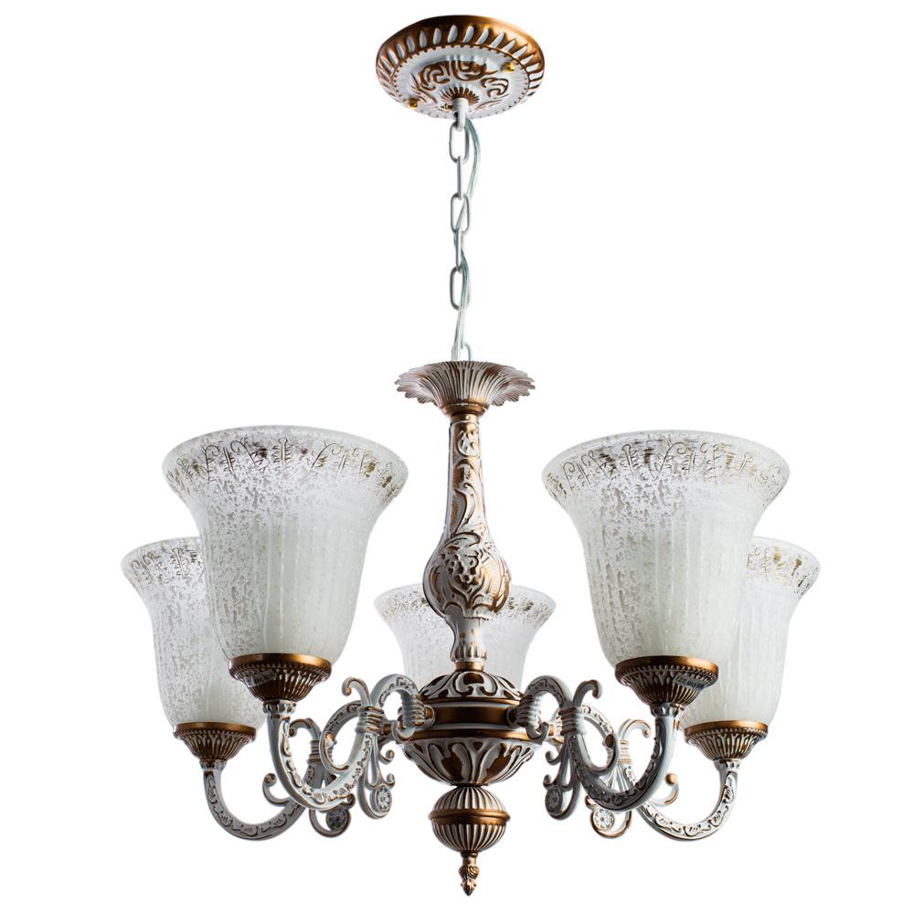 Подвесная люстра Arte Lamp Delizia A1032LM-5WG, 5xE27x60W, белый, матовое золото, металл, стекло - фото 1
