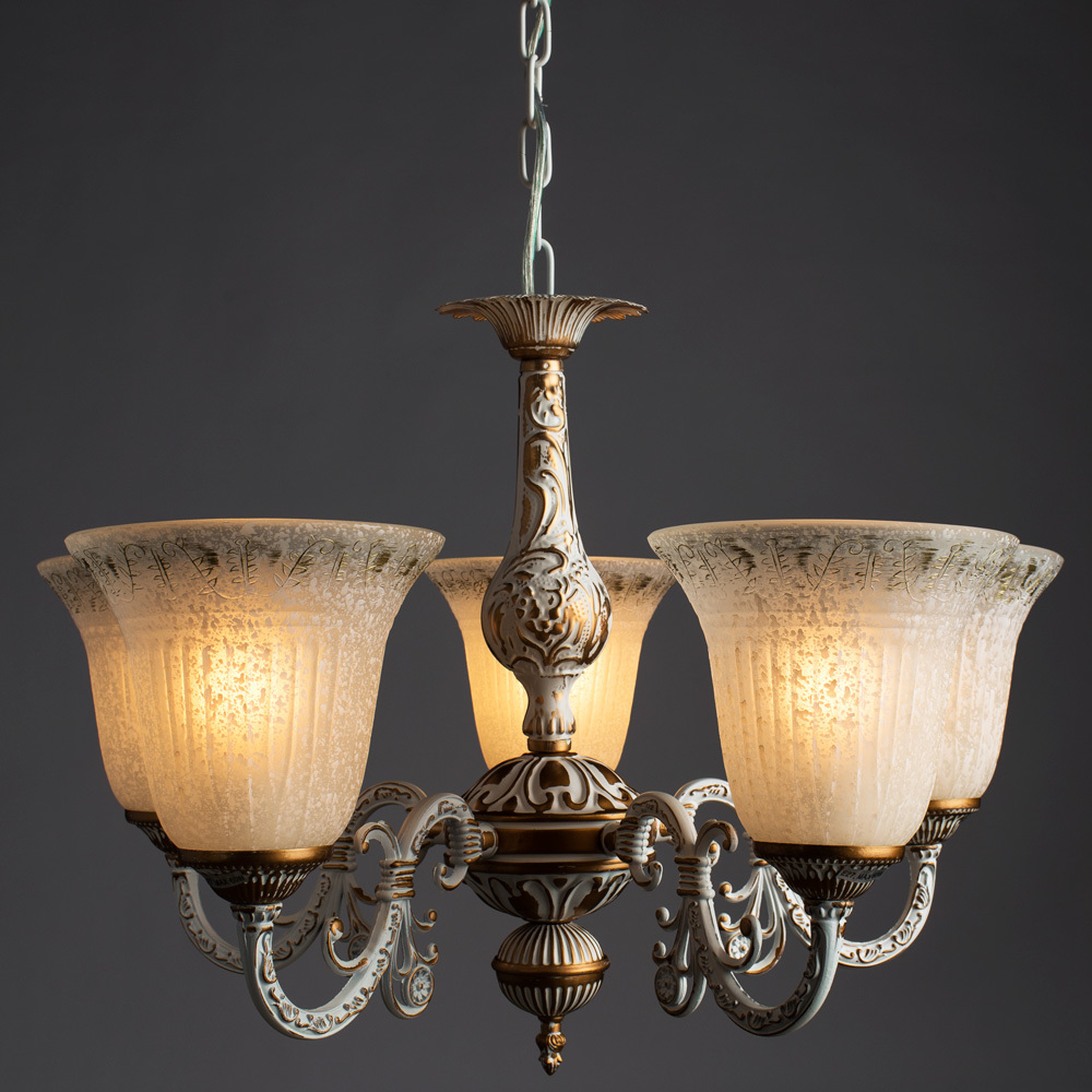 Подвесная люстра Arte Lamp Delizia A1032LM-5WG, 5xE27x60W, белый, матовое золото, металл, стекло - фото 2