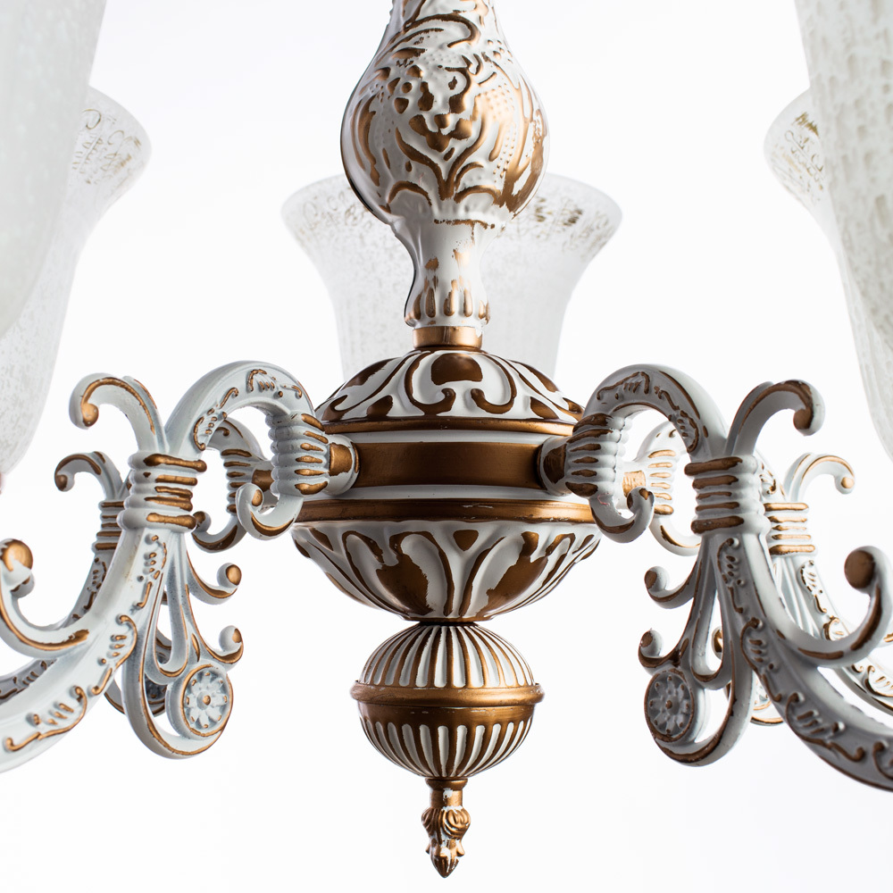 Подвесная люстра Arte Lamp Delizia A1032LM-5WG, 5xE27x60W, белый, матовое золото, металл, стекло - фото 4