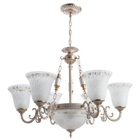 Подвесная люстра Arte Lamp Delizia A1032LM-6-3WG, 9xE27x60W, белый с золотом, белый, металл, стекло