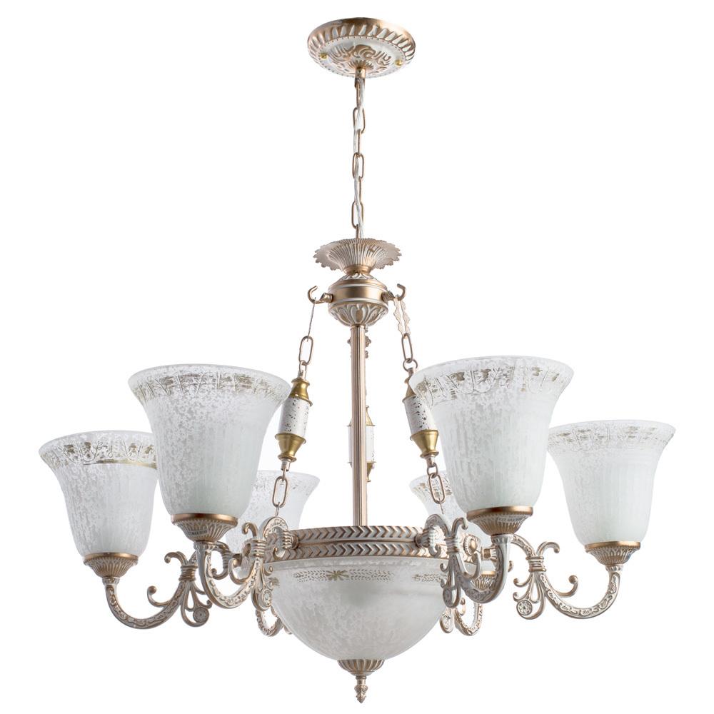 Подвесная люстра Arte Lamp Delizia A1032LM-6-3WG, 9xE27x60W, белый с золотом, белый, металл, стекло - фото 1