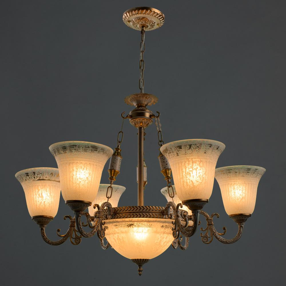 Подвесная люстра Arte Lamp Delizia A1032LM-6-3WG, 9xE27x60W, белый с золотом, белый, металл, стекло - фото 2