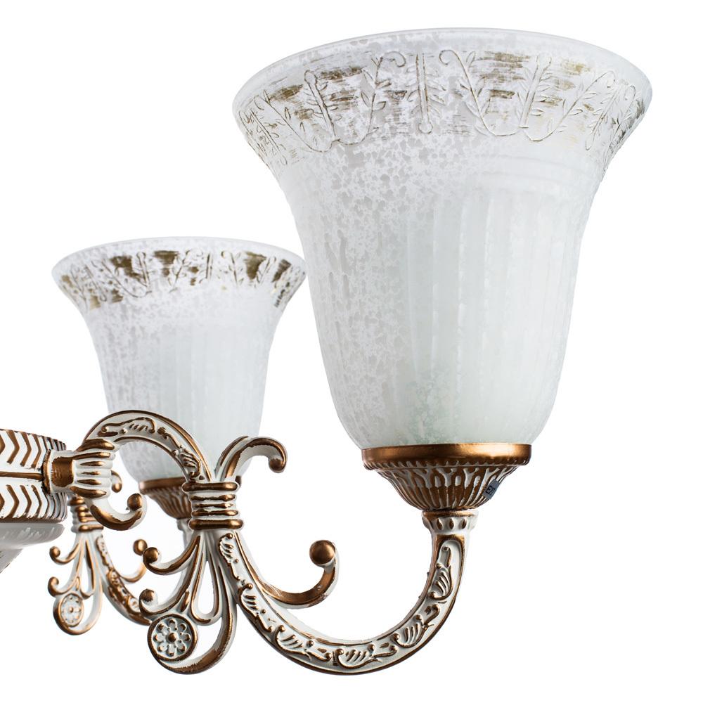 Подвесная люстра Arte Lamp Delizia A1032LM-6-3WG, 9xE27x60W, белый с золотом, белый, металл, стекло - фото 5