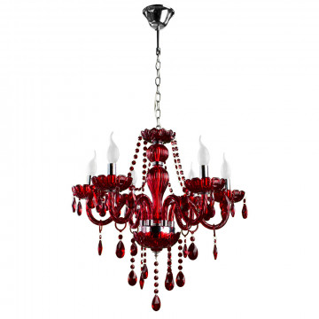 Подвесная люстра Arte Lamp Teatro A3964LM-6RD, 6xE14x60W, красный, стекло