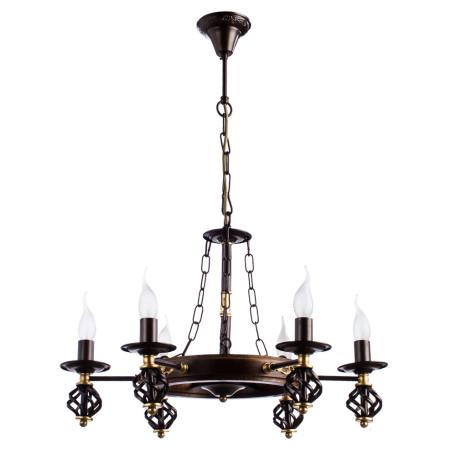 Подвесная люстра Arte Lamp Cartwheel A4550LM-6CK, 6xE14x60W, коричневый, металл, ковка