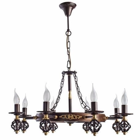 Подвесная люстра Arte Lamp Cartwheel A4550LM-8CK, 8xE14x60W, коричневый, металл, ковка