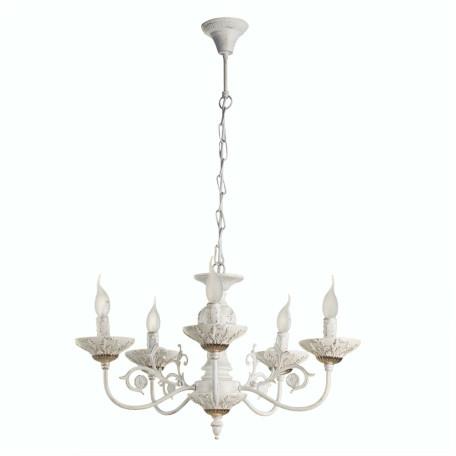 Подвесная люстра Arte Lamp Faina A5326LM-5WG, 5xE14x40W, белый, белый с золотой патиной, золото, керамика, металл