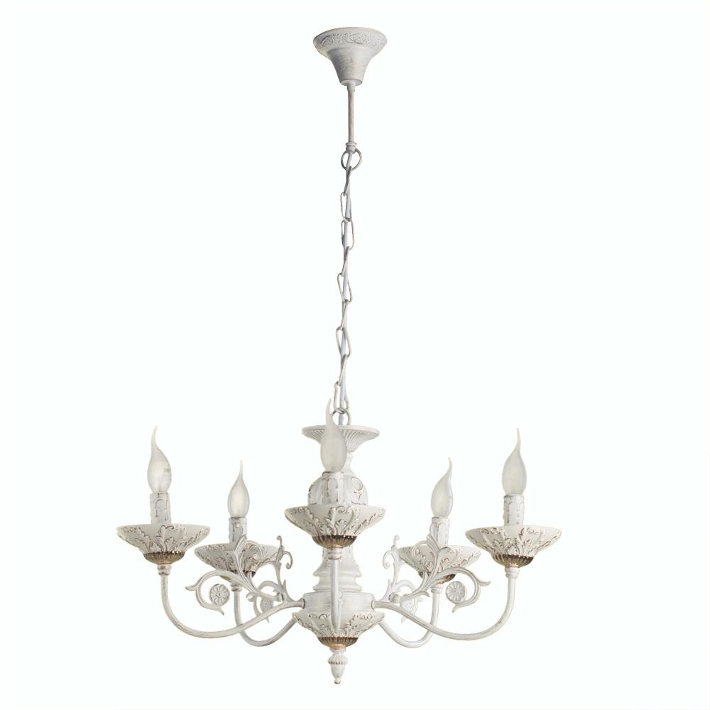 Подвесная люстра Arte Lamp Faina A5326LM-5WG, 5xE14x40W, белый, белый с золотой патиной, золото, керамика, металл - фото 1