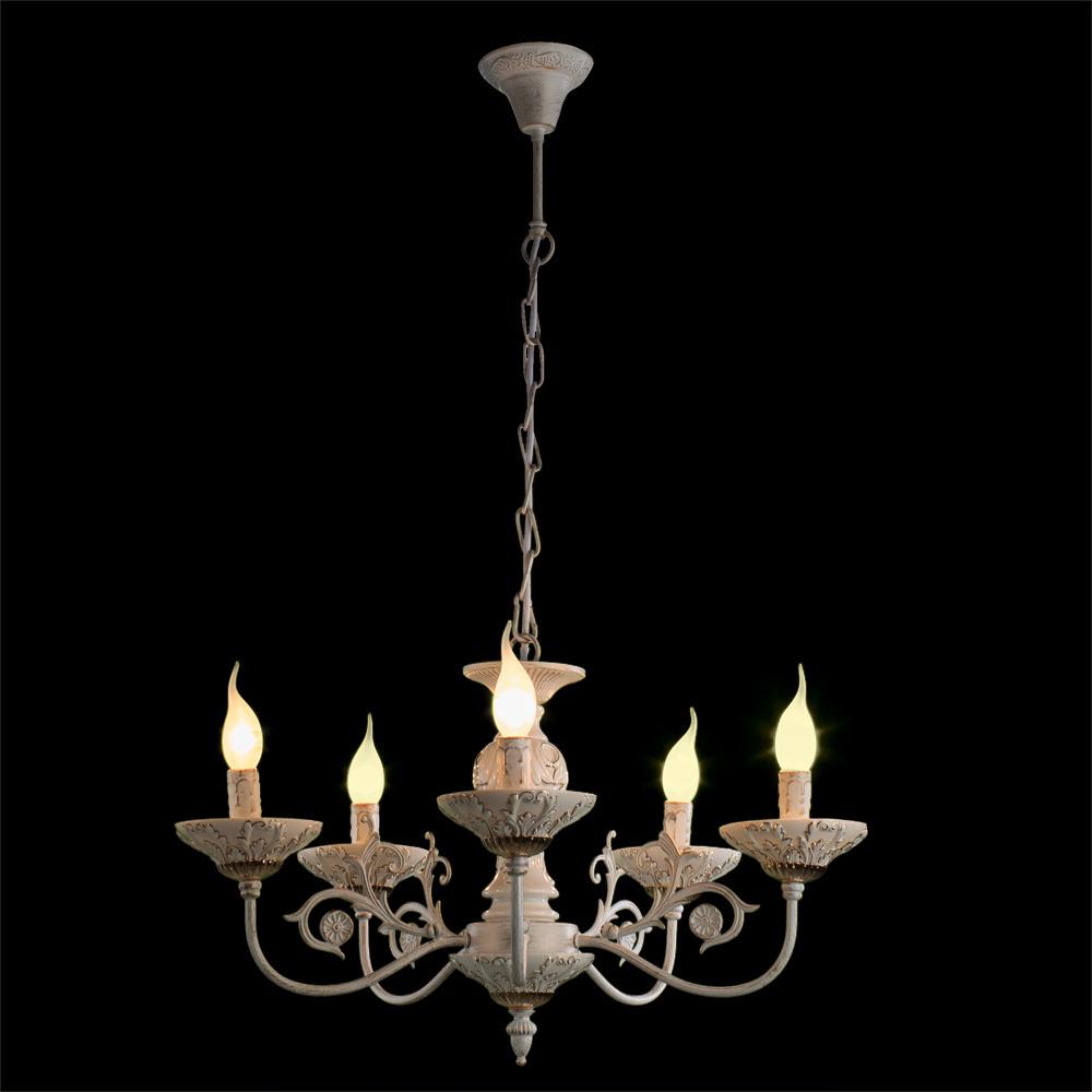 Подвесная люстра Arte Lamp Faina A5326LM-5WG, 5xE14x40W, белый, белый с золотой патиной, золото, керамика, металл - фото 2