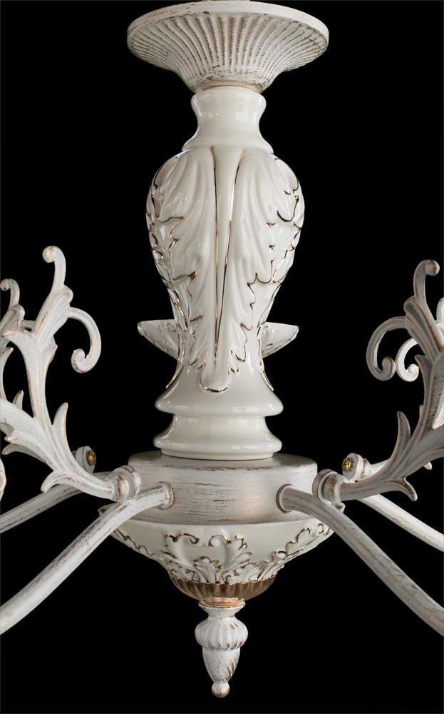 Подвесная люстра Arte Lamp Faina A5326LM-5WG, 5xE14x40W, белый, белый с золотой патиной, золото, керамика, металл - фото 3