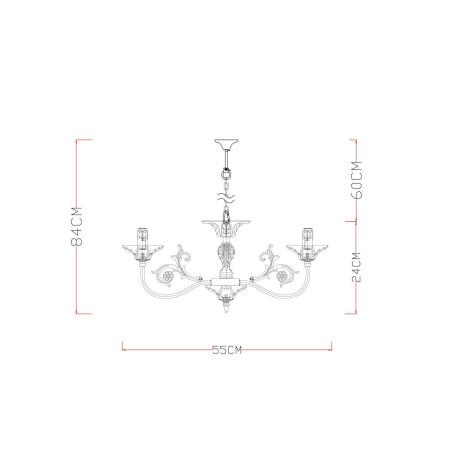 Схема с размерами Arte Lamp A5326LM-5WG