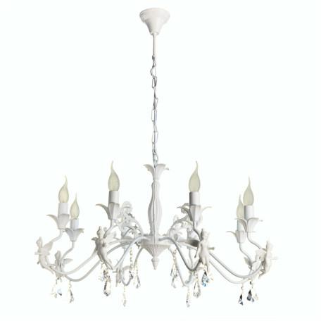 Подвесная люстра Arte Lamp Angelina A5349LM-8WH, 8xE14x40W, белый, прозрачный, керамика, металл, хрусталь