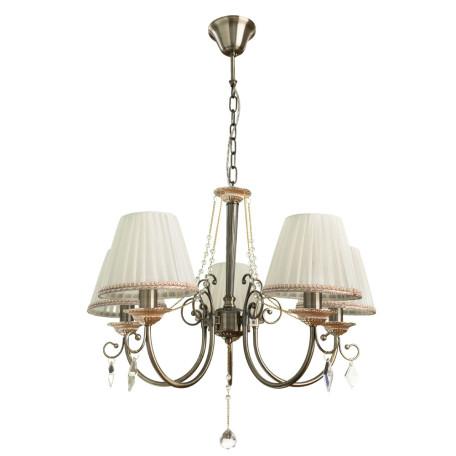 Подвесная люстра Arte Lamp Vivido A6021LM-5AB, 5xE14x40W, бронза, белый, прозрачный, металл, текстиль, хрусталь