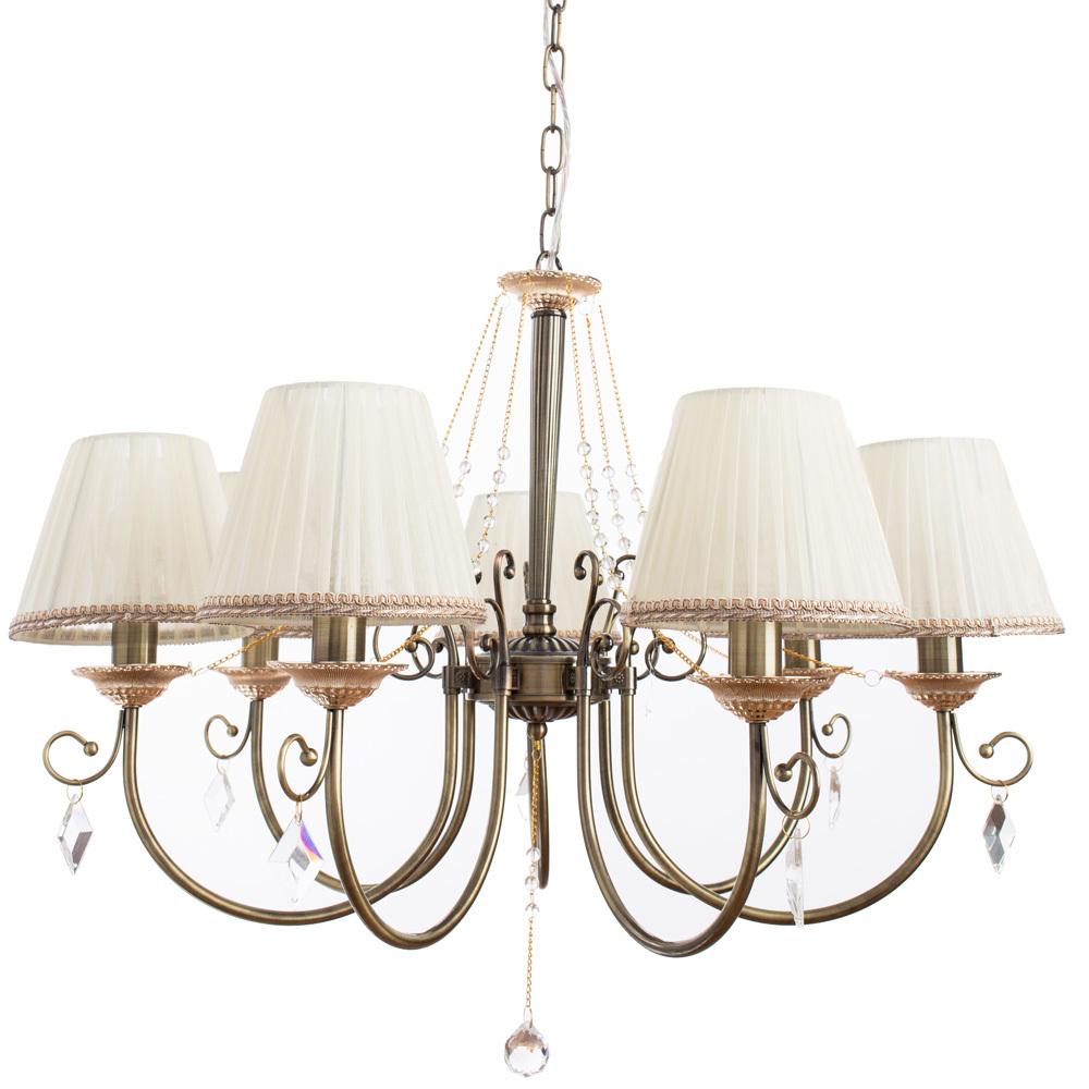 Подвесная люстра Arte Lamp Vivido A6021LM-7AB, 7xE14x40W, бронза, белый, прозрачный, металл, текстиль, хрусталь - фото 1