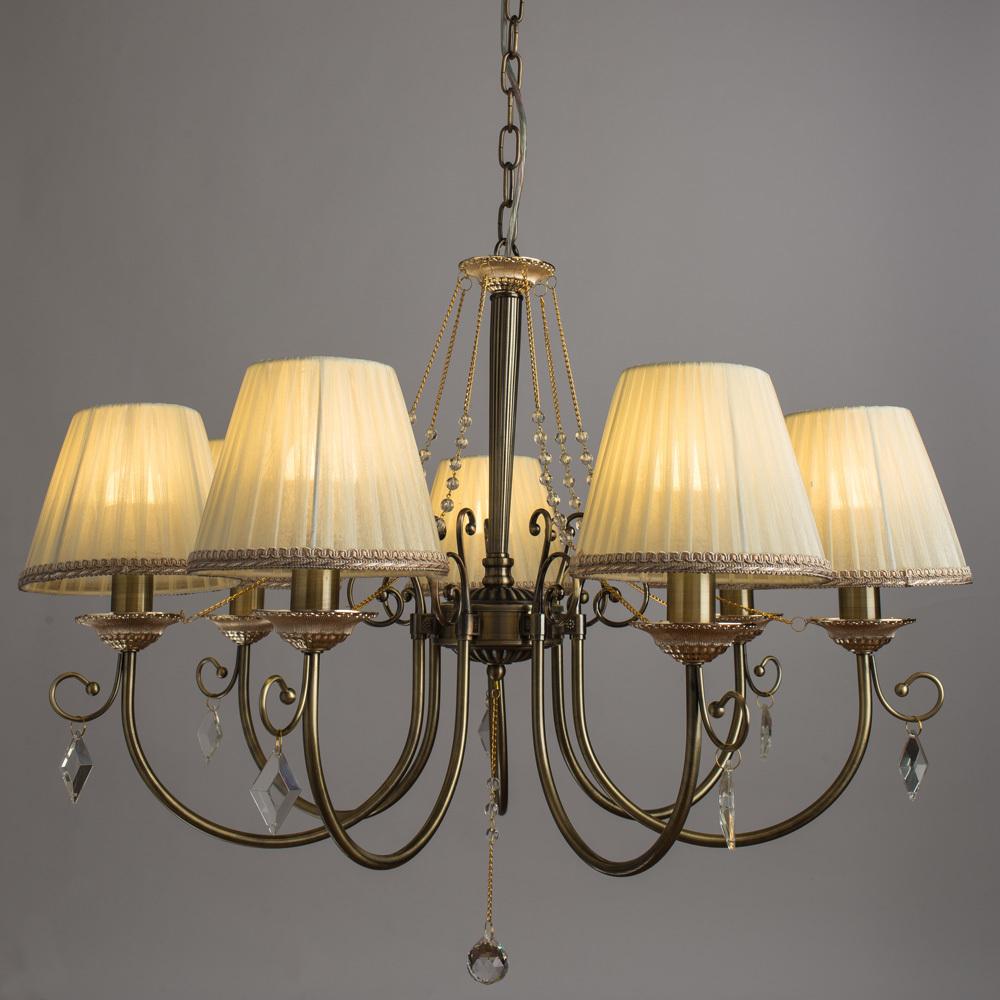 Подвесная люстра Arte Lamp Vivido A6021LM-7AB, 7xE14x40W, бронза, белый, прозрачный, металл, текстиль, хрусталь - фото 2
