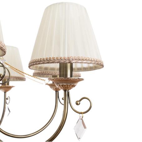 Подвесная люстра Arte Lamp Vivido A6021LM-7AB, 7xE14x40W, бронза, белый, прозрачный, металл, текстиль, хрусталь - миниатюра 4