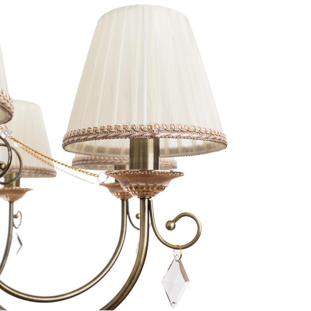 Подвесная люстра Arte Lamp Vivido A6021LM-7AB, 7xE14x40W, бронза, белый, прозрачный, металл, текстиль, хрусталь - фото 4