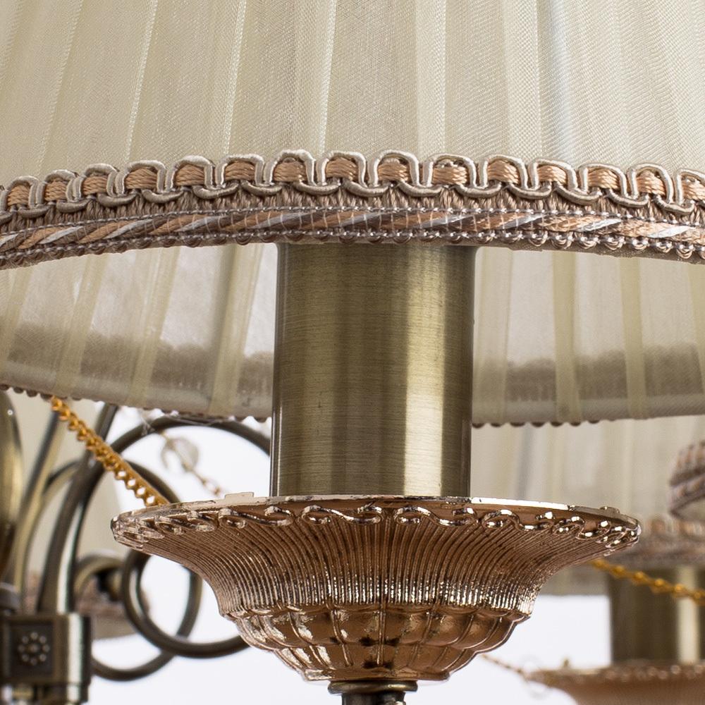 Подвесная люстра Arte Lamp Vivido A6021LM-7AB, 7xE14x40W, бронза, белый, прозрачный, металл, текстиль, хрусталь - фото 5