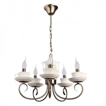 Подвесная люстра Arte Lamp Teapot A6380LM-5AB, 5xE14x40W, белый, бронза, керамика, металл