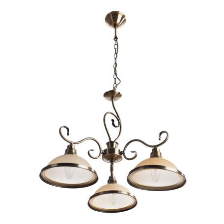 Подвесная люстра Arte Lamp Safari A6905LM-3AB, 3xE27x60W, бронза, бежевый, металл, стекло