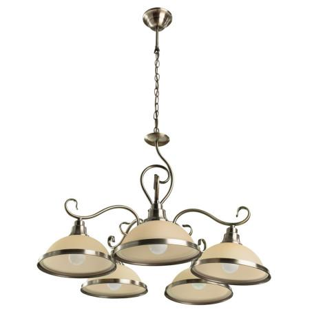 Подвесная люстра Arte Lamp Safari A6905LM-5AB, 5xE27x60W, бронза, бежевый, металл, стекло