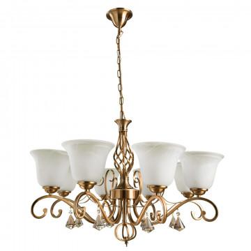 Подвесная люстра Arte Lamp Conis A8391LM-8PB, 8xE27x60W, медь, белый, прозрачный, металл, стекло, хрусталь