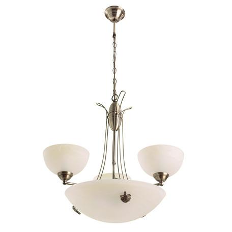 Подвесная люстра Arte Lamp Ninna A8615SP-3-3AB, 3xE27x40W +  3xE14x40W, бронза, белый, металл, стекло