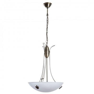 Подвесная люстра Arte Lamp Ninna A8615SP-3AB, 3xE27x40W, бронза, белый, металл, стекло