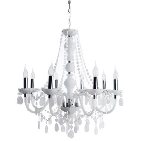 Подвесная люстра Arte Lamp Morris A8888LM-8WH, 8xE14x60W, белый, хром, металл, пластик