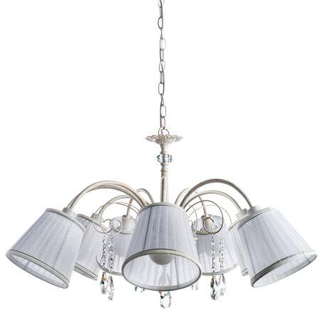 Подвесная люстра Arte Lamp Alexia A9515LM-7WG, 7xE14x40W, белый с золотой патиной, белый, прозрачный, металл, текстиль, хрусталь