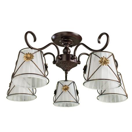 Потолочная люстра Arte Lamp Fortuna A5495PL-5BR, 5xE14x40W, коричневый, металл, текстиль