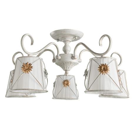 Потолочная люстра Arte Lamp Fortuna A5495PL-5WG, 5xE14x40W, белый с золотой патиной, белый, матовое золото, металл, текстиль