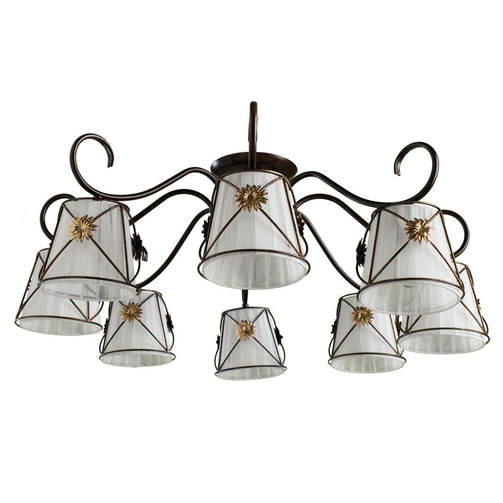 Потолочная люстра Arte Lamp Fortuna A5495PL-8BR, 8xE14x40W, коричневый, металл, текстиль - фото 1
