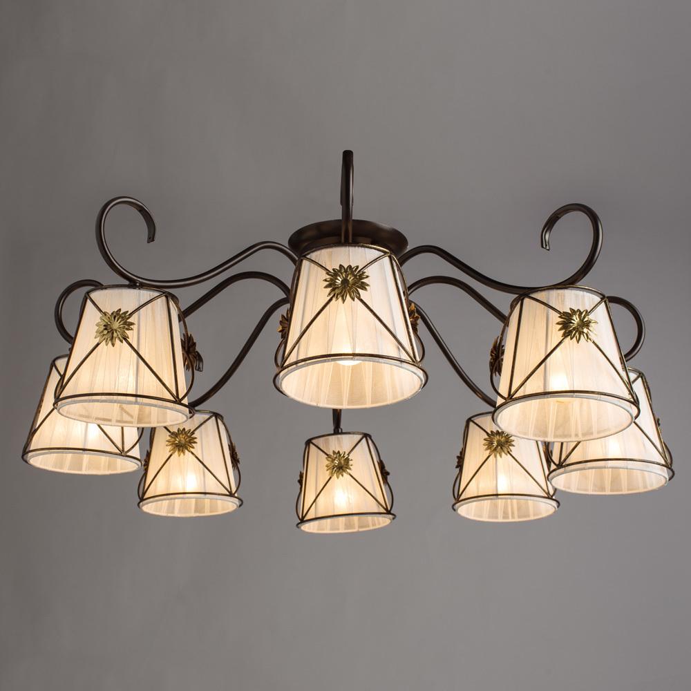 Потолочная люстра Arte Lamp Fortuna A5495PL-8BR, 8xE14x40W, коричневый, металл, текстиль - фото 2
