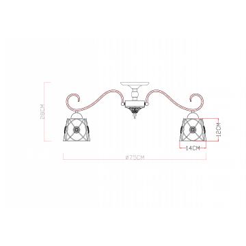 Схема с размерами Arte Lamp A5495PL-8BR