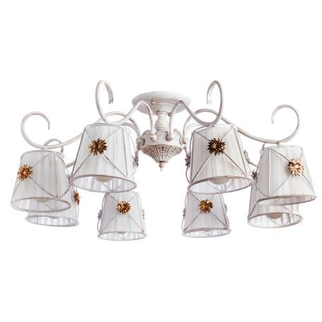 Потолочная люстра Arte Lamp Fortuna A5495PL-8WG, 8xE14x40W, белый с золотой патиной, матовое золото, белый, металл, текстиль
