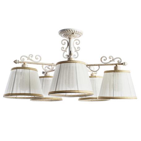 Потолочная люстра Arte Lamp Jess A9513PL-5WG, 5xE14x40W, белый с золотой патиной, белый, бежевый, металл, текстиль