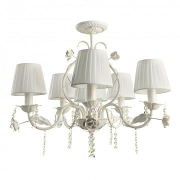 Потолочная люстра Arte Lamp Kenny A9514PL-5-1WG, 6xE14x40W, белый с золотой патиной, белый, прозрачный, металл, текстиль, хрусталь