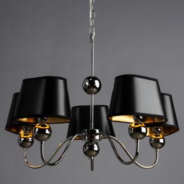 Подвесная люстра Arte Lamp Turandot A4011LM-5CC, 5xE14x40W, хром, черный, золото, металл, текстиль