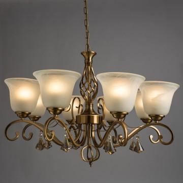 Подвесная люстра Arte Lamp Conis A8391LM-8PB, 8xE27x60W, бронза золотистая, белый, прозрачный, металл, стекло, хрусталь