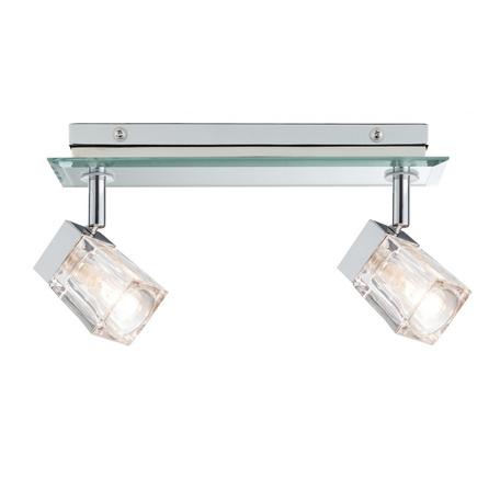 Потолочный светильник с регулировкой направления света Paulmann Trabani 70841, IP44, 2xG9x20W, хром, зеркальный, прозрачный, металл, стекло