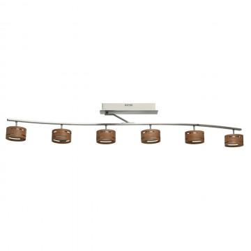 Потолочный светодиодный светильник De Markt Чил-аут 725010906, LED 30W 3000K 3000lm, никель, коричневый, металл, дерево, пластик