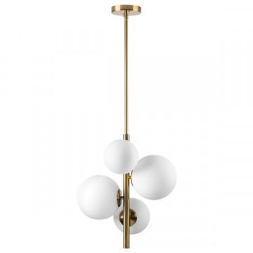 Люстра на составной штанге Lightstar Croco 815043, 4xE14x40W, матовое золото, белый, металл, стекло