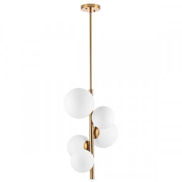 Люстра на составной штанге Lightstar Croco 815053, 5xE14x40W, матовое золото, белый, металл, стекло